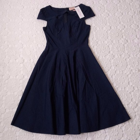 belle poque Dresses & Skirts - New Belle Poque M Navy Blue Fit Flare Dress Pin Up
